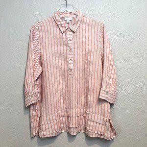 J.Jill Love Linen  Popover Striped Tunic